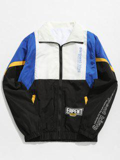 Colorblock Letter Windbreaker Jacket - Blue L