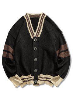 V Neck Loose Button Cardigan - Black L