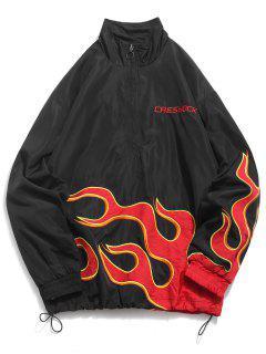 Fire Flame Embroidery Jakcet - Black Xl