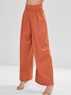 ZAFUL Pantalones De Pierna Ancha Llana De Cintura Alta - Naranja Brillante S