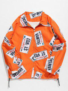 License Plate Printed Fleece Jacket - Bright Orange M