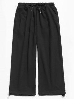 Solid Drawstring Casual Cropped Pants - Black M