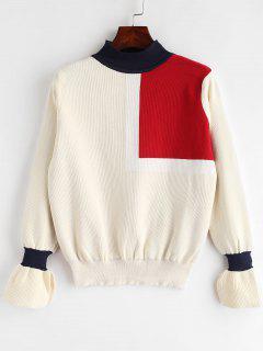 Schlitz Flare Ärmel Kontrast Pullover - Multi