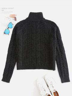 Cable Knit High Neck Sweater - Black