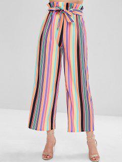 ZAFUL High Waisted Colorful Stripes Wide Leg Pants - Multi L