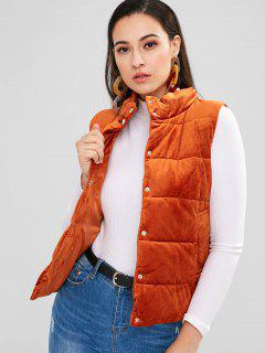Snap-button Quilted Waistcoat - Tiger Orange M
