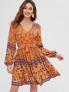 ZAFUL Floral Long Sleeve A Line Dress - Multi L
