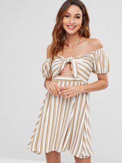 ZAFUL Off Shoulder Striped Knot Dress - Multi M