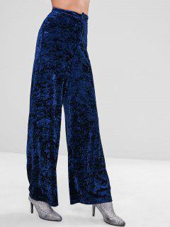 ZAFUL Wide Leg Velvet Pants - Midnight Blue L