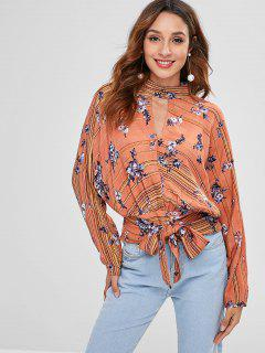 ZAFUL Floral Keyhole Backless Knot Blouse - Multi L