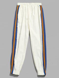 Side Striped Patchwork Jogger Pants - White Xl