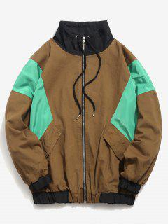 Color Block Zip Fly Loose Jacket - Wood M
