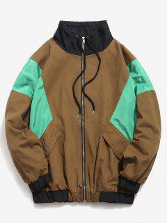 Color Block Zip Fly Loose Jacket - Wood L
