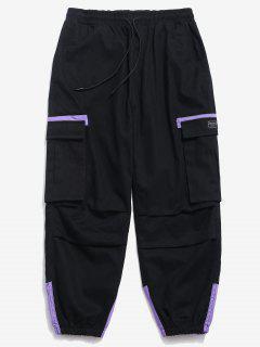 Pantalones Cargo De Bloque De Color Elástico Puño - Negro M