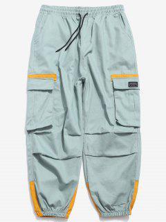 Color Block Elastic Cuff Cargo Pants - Mint Green Xs
