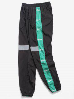 Letter Striped Reflective Jogger Pants - Black L