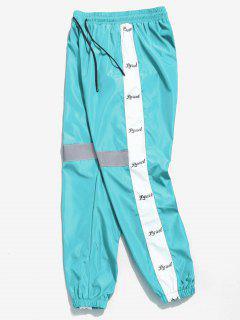 Letter Striped Reflective Jogger Pants - Crystal Blue L