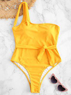 ZAFUL One Shoulder Belted High Leg Swimsuit - Bee Yellow M