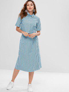 ZAFUL Striped Pocket Shirt And Skirt Set - Light Blue M