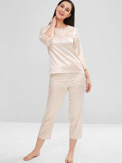 Lace Inserted Split Sleeves Top And Pants Pajama Set - Apricot L