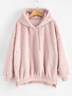 Zipper Embellished Faux Fur Hoodie - Pig Pink