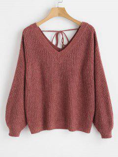 V Neck Drop Shoulder Oversized Sweater - Red Wine L
