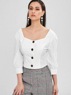 ZAFUL Square Button Up Top - Blanc M