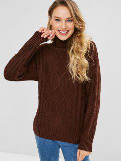 Cable Knit Turtleneck Jumper - Coffee