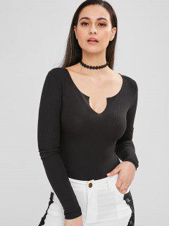 Snap Crotch Ribbed Split Neck Bodysuit - Black S