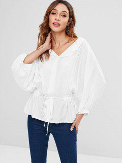 Batwing Sleeves Self Tie Blouse - White