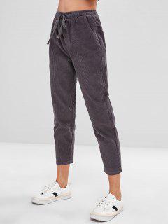 Corduroy Drawstring Pocket Pants - Gray Xl