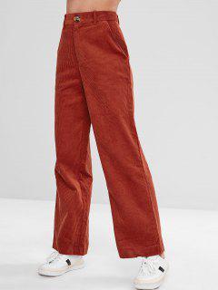 Pantalon Jambe Large En Velours Côtelé à Taille Haute - Châtaigne Rouge S