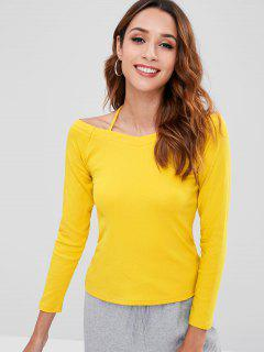 Cold Shoulder Long Sleeve T-shirt - Yellow Xl
