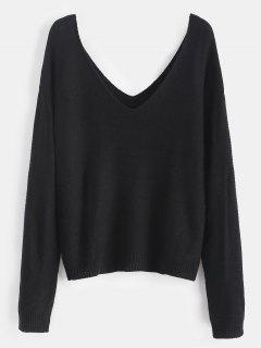 Side Slit Drop Shoulder Sweater - Black