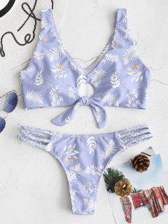 Bikini Con Tanque Trenzado Con Nudo De Hoja ZAFUL - Azul Lavanda L