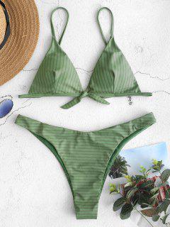 ZAFUL Ensemble De Bikini Rayé Noué - Vert Camouflage L