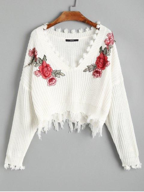 Jersey de jersey bordado floral desgarrado con cuello en V - Blanco Talla única Mobile