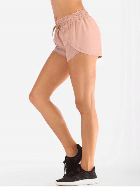 Drawstring Tulip Overlay Sports Shorts - Rosado L Mobile
