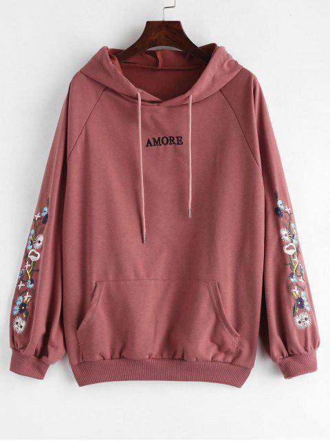 Sweat à capuche avec lettre floral - Rouge Violet Pâle  L Mobile