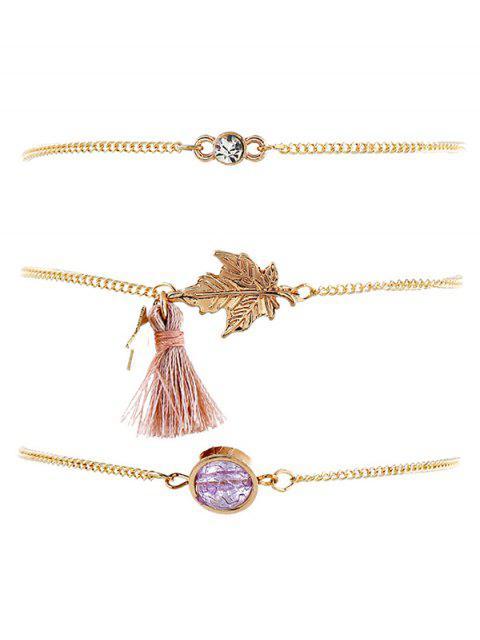 Conjunto de pulseras de cadena borla de diseño de hoja de arce - Oro  Mobile