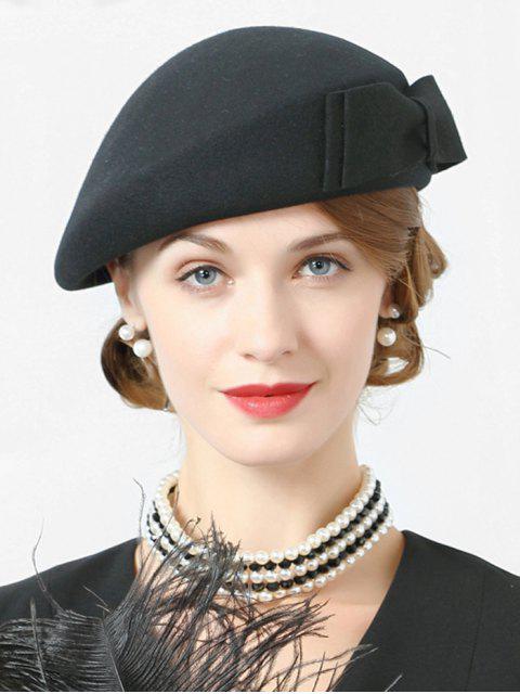 ladies Bowknot Solid Color Elegant Beret - BLACK  Mobile