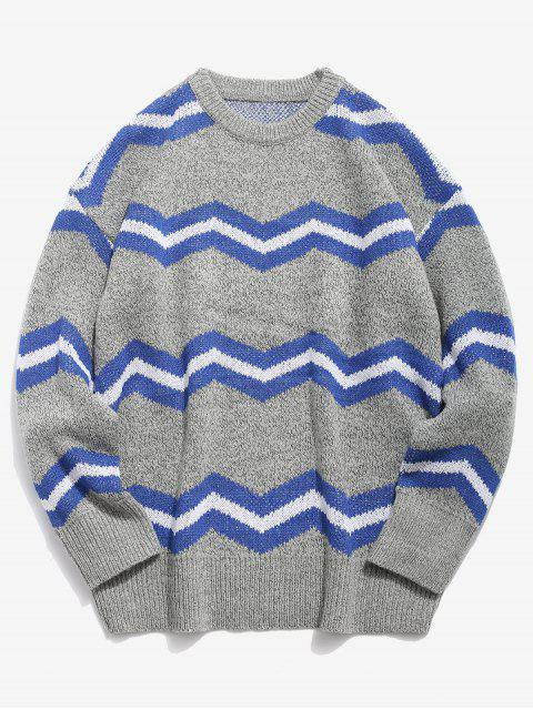 shops Contrast Wave Knitted Sweater - LIGHT GRAY L Mobile