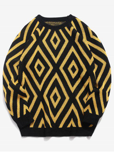 shops Geometric Crew Neck Knitted Sweater - BLACK 2XL Mobile