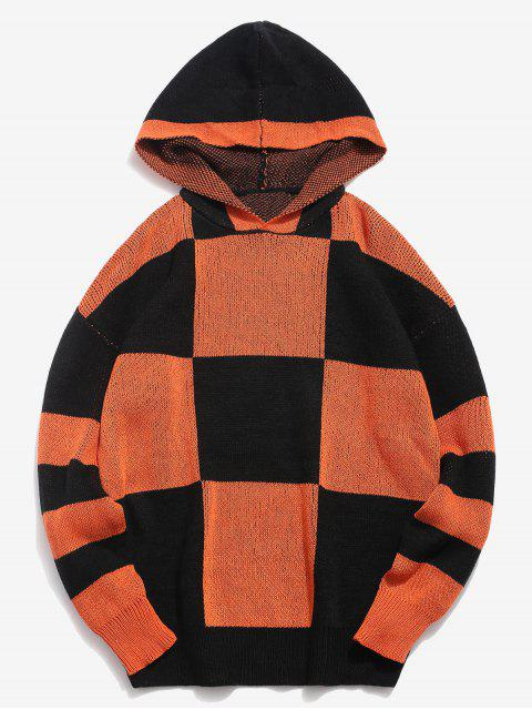 shops Color Block Hooded Knitted Sweater - ORANGE L Mobile