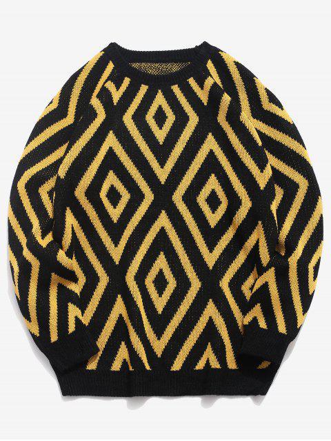 women Geometric Crew Neck Knitted Sweater - BLACK 3XL Mobile