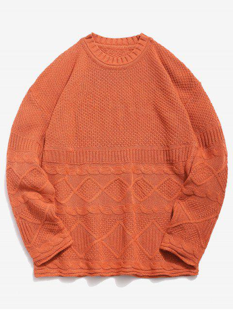 outfits Solid Geometric Twist Knitted Sweater - DARK ORANGE 3XL Mobile