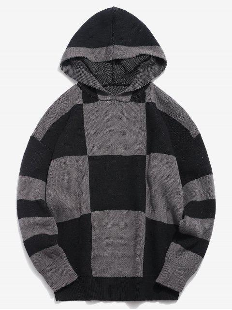 shops Color Block Hooded Knitted Sweater - BLACK 4XL Mobile