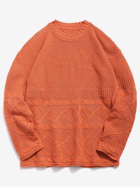 shop Solid Geometric Twist Knitted Sweater - DARK ORANGE XL Mobile