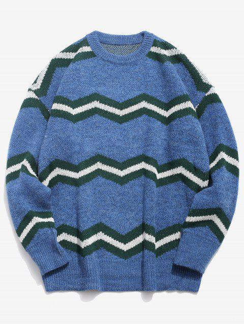 shops Contrast Wave Knitted Sweater - BLUE L Mobile