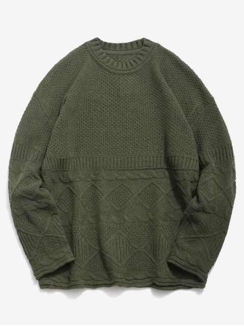 fancy Solid Geometric Twist Knitted Sweater - ARMY GREEN L Mobile